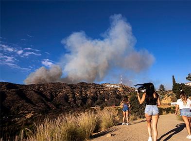 美国加州好莱坞山发生森林大火