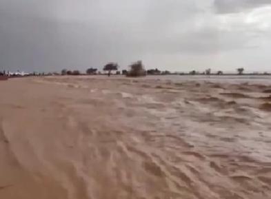 """沙特遭极端天气 """"冰洪""""流过沙漠地带"""